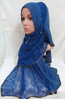 tc293 new designs lace cotton muslim long scarf islamic hijab arabic shawl free shipping by DHL,fast delivery