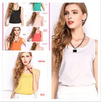 plus size chiffon vest women slim sleeveless fashion blouses shirts 13 candy color women clothing tank tops for women 2014 new
