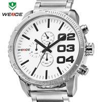 2014 Top New WEIDE famous luxury brand watch men Japen quartz watch analog 30m waterproof stainless steel wristwatch sale