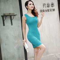 2014 summer one-piece dress basic mm plus size slim hip slim tank dress female
