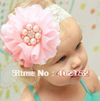 19 Colors Pearl  Rhinestone Flower Baby  Lace Headband Infant Children Hair Accessories Baby Girl Flower Hair Accessories
