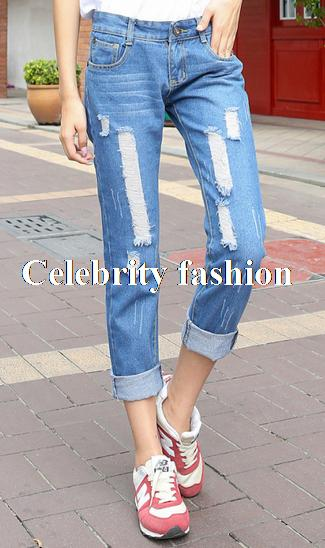 Wholesale- Hot Sale Celebrity Rolled Up Ripped Boyfriend Jeans ...