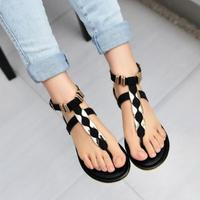 Fashion vintage brief t strap sandals hasp flat heel flip-flop slippers female flat herringbone
