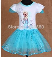 New Frozen Queen Girl Dancing Snow Dressing Princess TUTU Dress For 3-5 Year Kid Girl,5pcs/lot
