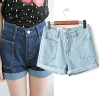 spring & summer new 2014 European style fashion leisure high waist shorts dimensional pocket denim shorts women straight