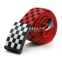 New 2014 Fashion 7 Color Plaid Brand Designer Knitted Canvas Belt For Women and Men B14052726 Free shipping