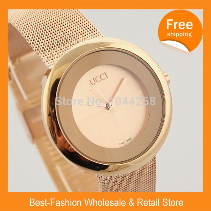 Free Shipping 2014 New Gu Super Quality Cheap Price Fashion Women Lady Luxury Brand Design Women Dress Full Steel Watches Quartz(China (Mainland))