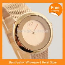Frete Grátis 2014 Aço Nova Gu Super qualidade preço barato moda Mulheres Lady Luxury Brand Design Mulheres vestido cheio relógios de quartzo(China (Mainland))