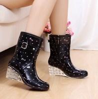 Fashion women's knee-high rainboots high heel wedges boots overstrung slip-resistant shoes