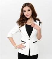 New 2014 Spring Summer Formal Female Blasers Women Blazer & Jacket White Fashion Ladies Office Uniform Style Jaqueta Esporte