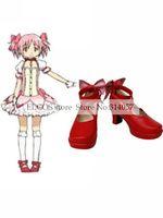 Free shipping Red 3 110 Heel Kaname Madoka Puella Magi Madoka Magica Faux Leather Cosplay Shoes as  Halloween Cosplay shoes
