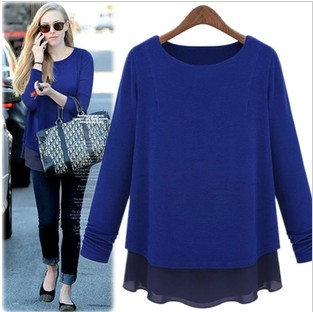 New sweaters 2014 women fashion Autumn pullovers faux two piece set thickening chiffon patchwork long-sleeve basic sweater C28(China (Mainland))