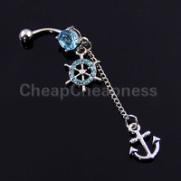 Navel Belly Button Ring Nautical Anchor Gem Paved Ship Wheel Dangle Piercing