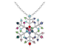 Snowflake Rhinestone Charm Pendant Brand Crystal Necklace Choker Vintage Necklaces  18K White Gold Plated  14305