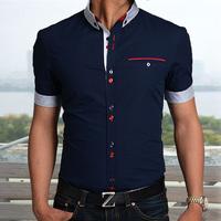 2014 New Cotton Men's Casual Shirt High Quality Short Sleeve Shirt Slim Fit Mens Designer Shirt