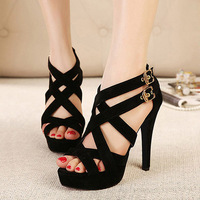 Free shipping! Sexy Women Lady Faux Suede Platform Pump Stiletto High Heels Ankle Strap Sandal Party Shoes