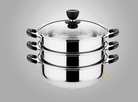 FREE SHIPPING 32cm big siz stainless steel food steamer pot 3 layer cooking pot with glass cover food steamer pot cooking pot