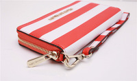 Free shipping DHL Luxury michael genuine leather stripe zipper wallet case for 4s 5s 5c galaxy S4 i9500 S3 i9300 with Retail box