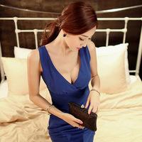 2014 Summer dress New Korean Shopping women dress Quality Deep V-neck Slim Package Hip casual Dress - Blue plus size