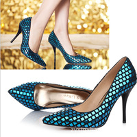 2014 New hot fashion women's pumps genuine leather glitter sandal wedding high heel shoes paillette grid nude shoes 34-41 3color