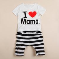 1Set Hot Sell New I Love Mama Baby Shirt/T-Shirt Boy Girl Short Sleeve Infants Toddlers T-shirt+Pants Pajamas Free Shipping