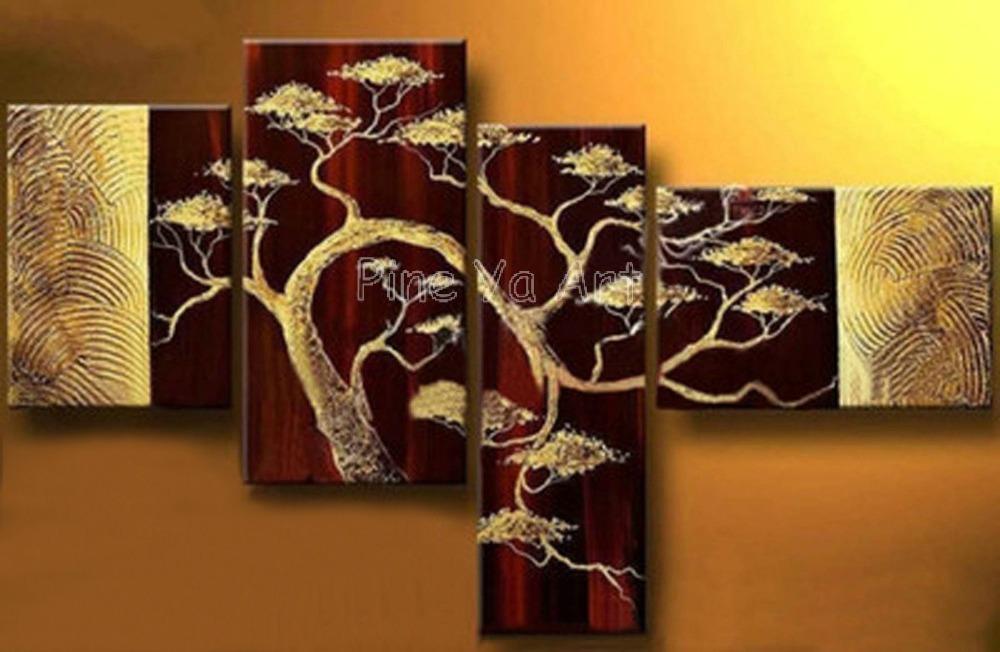 4 peças painel muti abstrata moderna arte da parede da lona mão decorativos galho de árvore pintura a óleo sobre tela para viver a decoração do quarto(China (Mainland))