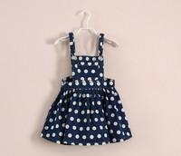 new 2014 spring summer children kids dot denim pocket dress girls party dresses denim baby child vest girl mini dress 3-8ages
