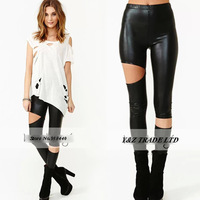 Left-right asymmetry Elasticity Thin models PU Leatherette Leggings Slim Sexy high Waist 6 size Fashion women Leggings HDY75