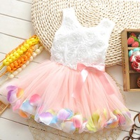 2014 new summer color petal flower girl dress hem wholesale Kids dress children's clothing free shipping