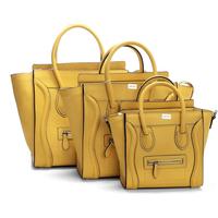 Hot sale!! Nano leighton masters smile face boston totes bag 3309 in yellow original calfskin leather  women messenger handbags