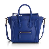 Hot sale!! Nano leighton masters smile face boston totes bag 3309 in blue original calfskin leather  women messenger handbags