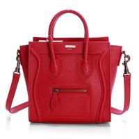 Hot sale!! Nano leighton masters smile face boston totes bag 3309 in red original calfskin leather  women messenger handbags