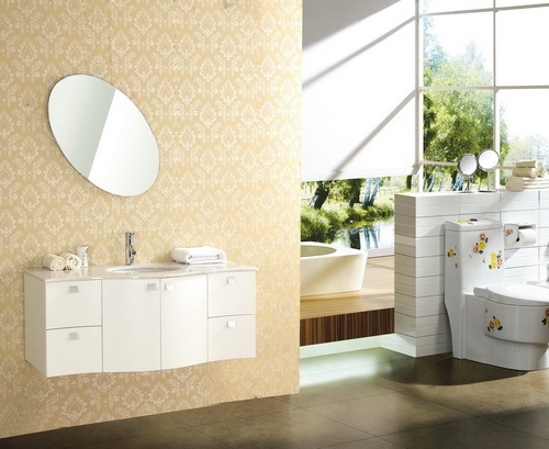 High Quality Pure White Oak Wood Bathroom Vanity Cabinet(X-043)(China (Mainland))