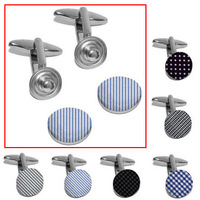 Six Colors Snap Button Fabric Cufflink Adjustable Cuff Link Free Shipping