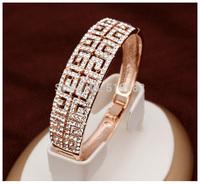 New top quality 18k rose gold/platinum plated  vintage G style cutout brand women bracele bangles (UVOGUE VB00205)