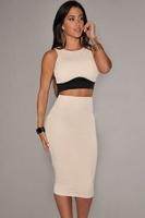 2014 New Summer Nude Cream Black Textured 2 Piece Set Womens Clothes 6453 Ladies Casual Sleeveless Top 2 piece Set Skirt Bodycon