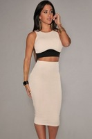 2014 New Summer Nude Cream Black Textured 2 Piece Set Womens Clothes 6453 Ladies Casual Sleeveless Top 2 piece Set Skirt Bodycon