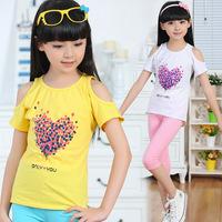 2014 new summer children kids clothes clothing cotton stretch short sleeve girl t shirt t-shirt 6-14