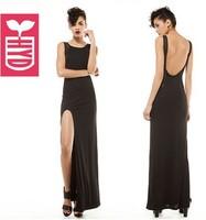 New 2014 Summer Brand sexy Vintage Black Evening Long Dresses See-through Sleeveless Side Slit Open maxi dress