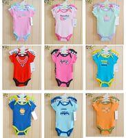 2014 New baby grils jumpsuits & baby bodysuits 3pcs/lot cotton newborn wholesale short sleeve baby boys clothing set