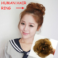 Free shipping-100% human hair chignon curl hair elastic ring easy to wear