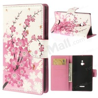 1pcs/lot Pink Plum Blossom Wallet With Card Holder Flower Leather Flip Cover Phone Case For Nokia XL Dual SIM 1042 Free Shipping