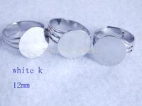 Free Shipping!!! Bluk 100pcs/lot 12mm white k plated adjustable Ring base  MN-1502