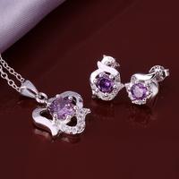 Wholsale new FASHION jewelry  925 Sterling Silver earrings necklace set Penoyjewelry LKNSPCS654
