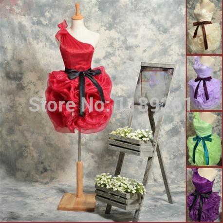 bonito- ombro strapless com faixa rosa- bainha moldada tipo organza vestido de baile madrinhas vestidos feitos vestido de baile de04025(China (Mainland))