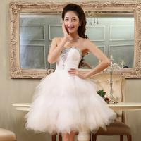 New summer dress 2014 tube top wedding dress performance formal dress gauze diamond slim short design bridesmaid dresses X12