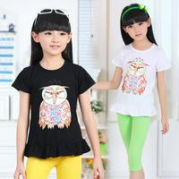 2014 summer new children's clothing cotton stretch short-sleeved cartoon owl girls t-shirts 6-14