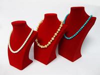 Red Velvet Kit 3PCS Mannequine Wooden Rack Shelf Portrait Jewelry Necklace Pendant Display Prop Bust Stand Holder