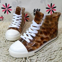 Adult  water shoes leopard print lady flat shoes martin shoes bandage decoration boots women rain boots