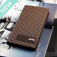NEW 2014 European business style Factory price fashion long plaid design men wallets famous brand leather Suit bag purse for men